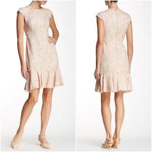 NWT Nanette Lepore Tweed Frayed-Edge Flounce Dress